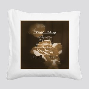 Hail Mary Prayer Antique Rose Square Canvas Pillow