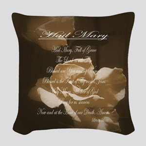 Hail Mary Prayer Antique Roses Woven Throw Pillow