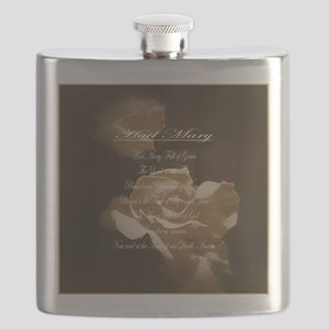 Hail Mary Prayer Antique Roses Flask