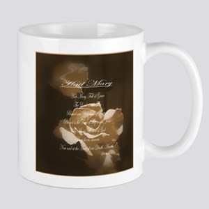 Hail Mary Prayer Antique Roses Mug