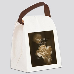 Hail Mary Prayer Antique Roses Canvas Lunch Bag
