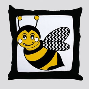 Cute Chevron Winged Bumble Bee Throw Pillow