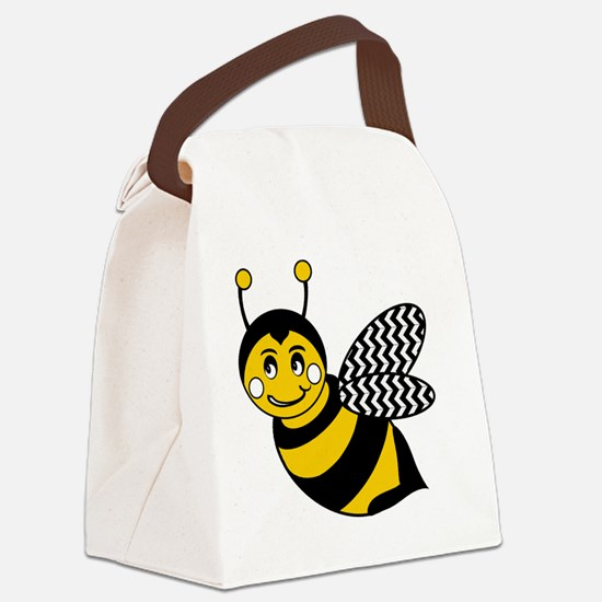 Cute Chevron Winged Bumble Bee Canvas Lunch Bag