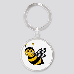 Cute Chevron Winged Bumble Bee Round Keychain
