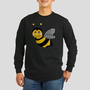 Cute Chevron Winged Bumbl Long Sleeve Dark T-Shirt
