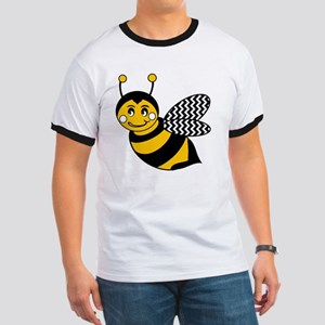 Cute Chevron Winged Bumble Bee Ringer T