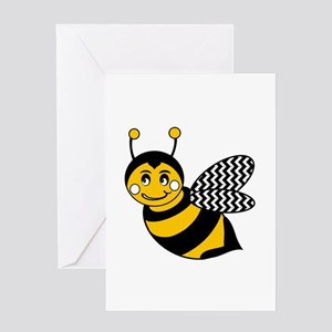 Cute Chevron Winged Bumble Bee Greeting Cards