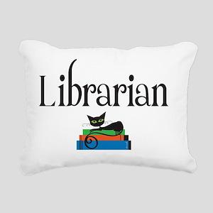 librarian with black cat Rectangular Canvas Pillow