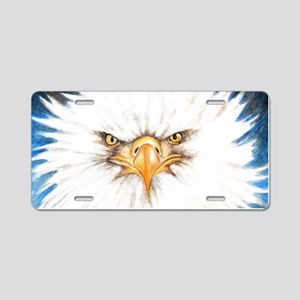 Bald Eagle Gaze Aluminum License Plate