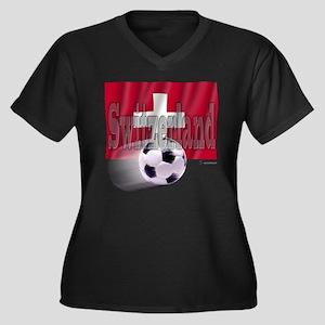Soccer Flag Switzerland Women's Plus Size V-Neck D