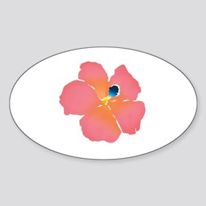Watercolor of lush tropical hibiscu Sticker (Oval)