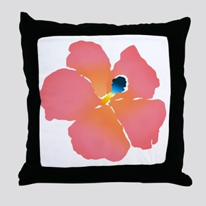 Watercolor of lush tropical hibiscus  Throw Pillow