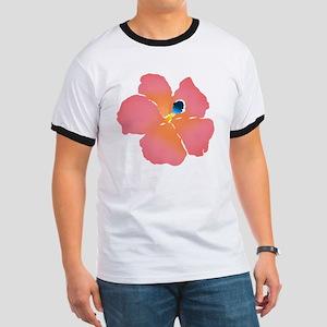 Watercolor of lush tropical hibiscus flow Ringer T