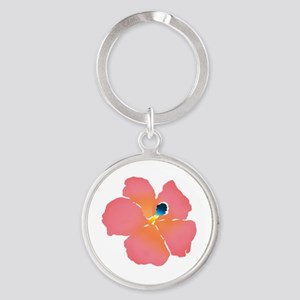Watercolor of lush tropical hibiscu Round Keychain