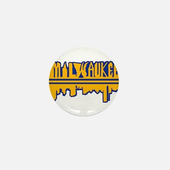 MKE Skyline Drip Yellow Mini Button