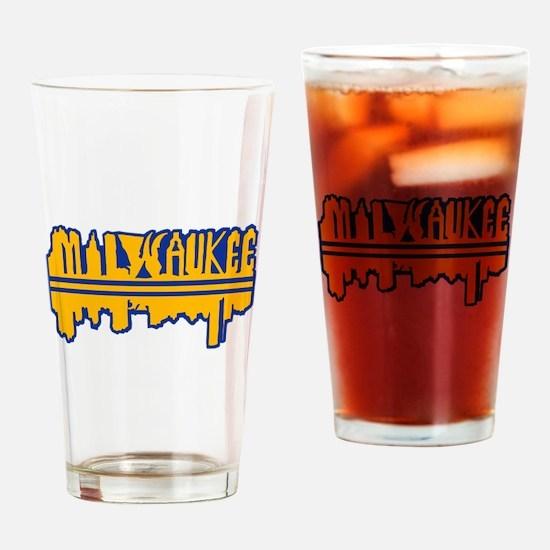 MKE Skyline Drip Yellow Drinking Glass