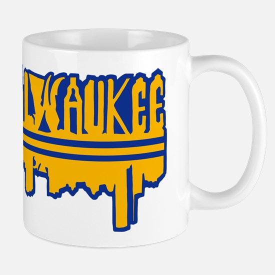 MKE Skyline Drip Yellow Mugs