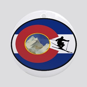COLORADO SKI TIME Round Ornament