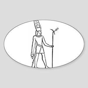 Ammon - Egyptian Diety Oval Sticker