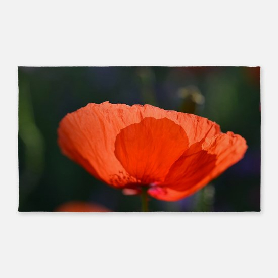 Brilliant Red Flower 3'x5' Area Rug