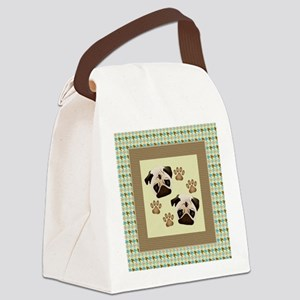 Pugs on Houndstooth Canvas Lunch Bag