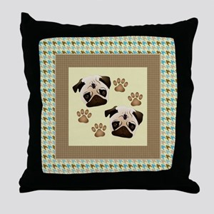 Pugs on Houndstooth Throw Pillow