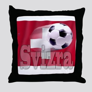 Soccer Flag Svizra Throw Pillow