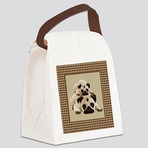 Pugs on Brown Houndstooth Canvas Lunch Bag