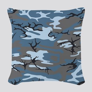 Blue Camouflage Woven Throw Pillow