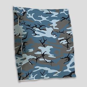 Blue Camouflage Burlap Throw Pillow