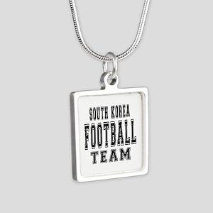 South Korea Football Team Silver Square Necklace