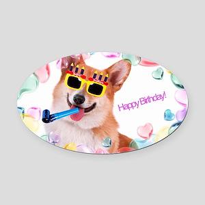 Happy Birthday Corgi Oval Car Magnet