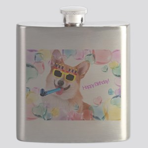 Happy Birthday Corgi Flask