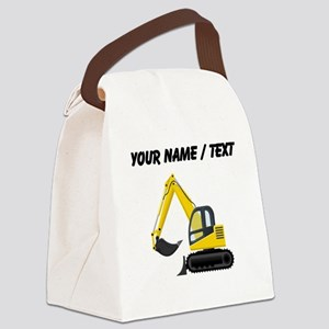 Custom Yellow Excavator Canvas Lunch Bag