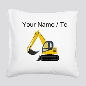 Custom Yellow Excavator Square Canvas Pillow
