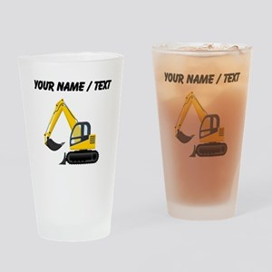 Custom Yellow Excavator Drinking Glass