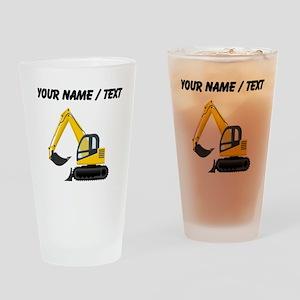 Custom Yellow Excavator Drinking Glass