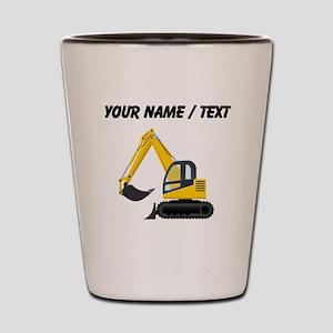 Custom Yellow Excavator Shot Glass