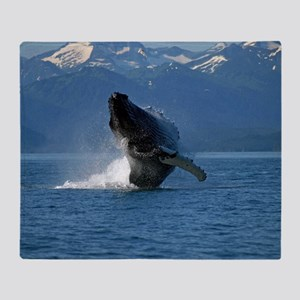 Humpback Whale Breaching Alaska Throw Blanket