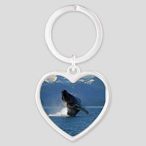 Humpback Whale Breaching Alaska Heart Keychain