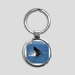 Humpback Whale Breaching Alaska Round Keychain