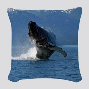 Humpback Whale Breaching Alask Woven Throw Pillow