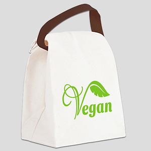 Green Vegan Symbol Canvas Lunch Bag