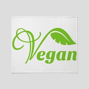 Green Vegan Symbol Throw Blanket