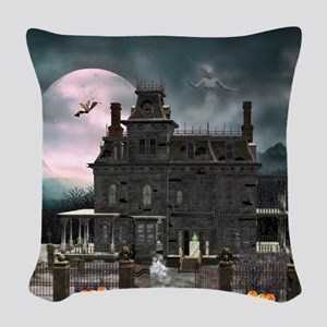 Haunted House 1 Woven Throw Pillow