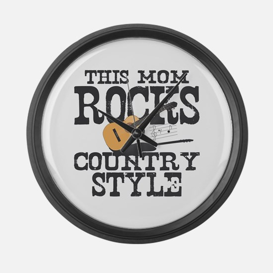Mom Rocks Country Large Wall Clock