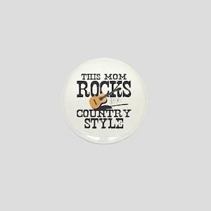 Mom Rocks Country Mini Button