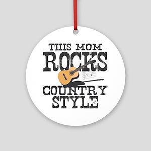 Mom Rocks Country Ornament (Round)