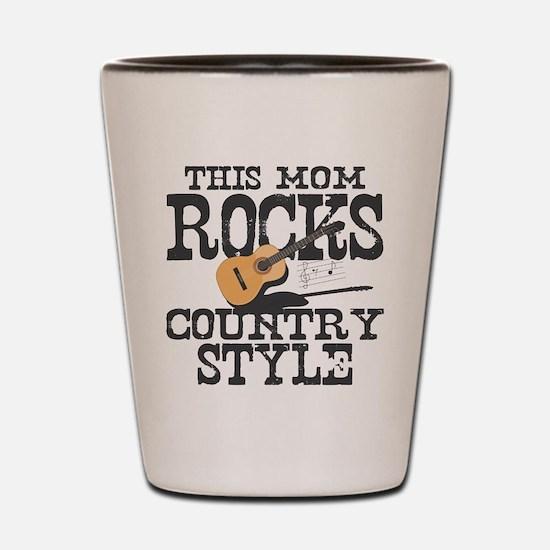 Mom Rocks Country Shot Glass