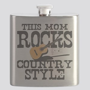 Mom Rocks Country Flask